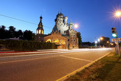Church of the Holy Trinity in Ostankino at Night. Moscow, Russia Stock Photography
