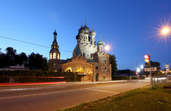 Church of the Holy Trinity in Ostankino at Night. Moscow, Russia Royalty Free Stock Photos