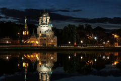 Church of the holy trinity in Ostankino at night with reflection in the water Stock Photo