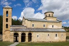 The church of the Holy Trinity in the Sopocani monastery in Serbia royalty free stock photography