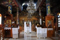 Church of the Holy Trinity in Stropones village in Greece. Inside view of the Orthodox Church of the Holy Trinity. Stropones village in the Evia region in stock photos