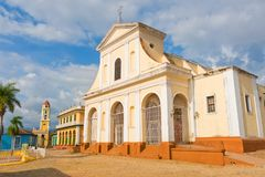 Church of the Holy Trinity. Urban scene in Colonial town cityscape of Trinidad, Cuba. royalty free stock image