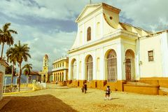 Church of the Holy Trinity. Urban scene in Colonial town cityscape of Trinidad, Cuba. royalty free stock photos
