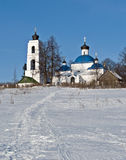 Old russian country church in winter time Royalty Free Stock Image