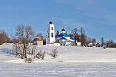 Old russian church in winter time Stock Image