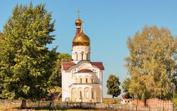 The Church in Sunlit Glade. The church in honor of St. Nicholas the Wonderworker in the Sunlit Glade in the Samara region Stock Image