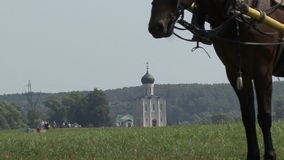 Church and horse stock footage