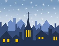 Church and House Silhouettes. A clip art illustration featuring rows of houses and a church silhouette in winter with starry sky above Royalty Free Stock Image