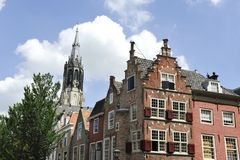 Church and houses in Delft Stock Image