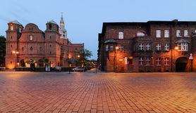 Church and houses in historic Nikiszowiec district in Katowice Royalty Free Stock Images