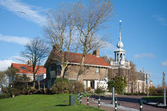 Church and houses of an old Dutch fishing village Royalty Free Stock Photos