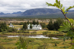 Church and houses in Pingvellir Iceland Royalty Free Stock Images