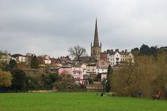 Church and houses Ross-on -Wye Royalty Free Stock Photo