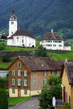 Church and houses Royalty Free Stock Image