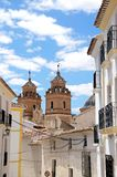 Church and houses, Velez Rubio, Spain. Townhouses with Santa Maria church to the rear, Velez Rubio, Almeria Province, Andalusia, Spain, Western Europe Royalty Free Stock Images