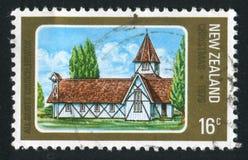 Church in Howick. NEW ZEALAND - CIRCA 1978: stamp printed by New Zealand, shows All Saints Church in Howick, circa 1978 royalty free stock photos