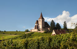 Church of Hunawihr. Little church of Hunawihr wine village in the middle of vineyards of Alsace, France Royalty Free Stock Image