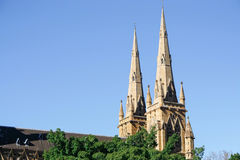 Church at Hyde Park in Sydney. Australia Royalty Free Stock Photo