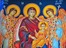 Church icon. Ancient church icon painted in vivid colours Stock Image