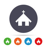 Church icon. Christian religion symbol. Chapel with cross on roof. Round colourful buttons with flat icons. Vector Stock Images