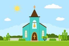 Church icon. Flat summer landscape. Stock Photos