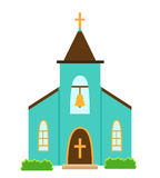 Church icon isolated on white background. Vector illustration for religion architecture design. Cartoon church building silhouette with cross, chapel, bell royalty free illustration