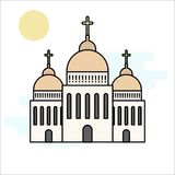 Church icon isolated on white background. Vector illustration for religion architecture design. Cartoon church building silhouette. With cross, chapel, bell stock illustration