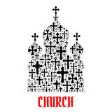 Church icon. Religion christianity cross symbols. In shape of temple, monastery for religious decoration emblem and design elements Stock Photo