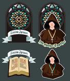 Church Icon Set with Mosaic Window, Flat Vector Illustration Royalty Free Stock Photography
