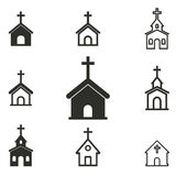Church icon set. Church vector icons set. Black illustration isolated on white background for graphic and web design stock illustration