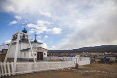 Church of the Icon of the Theotokos in the village Khuzhir on Olkhon Island in the middle of Lake Baikal, Russia royalty free stock photos
