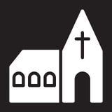 Church icon, vector illustration isolated on black. Stock Photos
