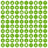 100 church icons hexagon green. 100 church icons set in green hexagon isolated vector illustration Royalty Free Stock Images