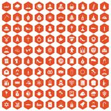 100 church icons hexagon orange. 100 church icons set in orange hexagon isolated vector illustration Vector Illustration
