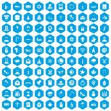 100 church icons set blue. 100 church icons set in blue hexagon isolated vector illustration Vector Illustration