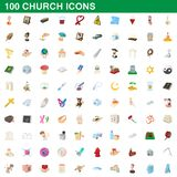 100 church icons set, cartoon style. 100 church icons set in cartoon style for any design illustration vector illustration