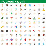 100 church icons set, cartoon style. 100 church icons set in cartoon style for any design vector illustration Stock Illustration