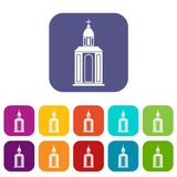 Church icons set flat Stock Photography