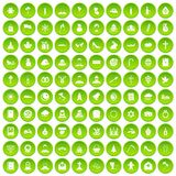 100 church icons set green circle. Isolated on white background vector illustration Royalty Free Stock Photography