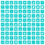100 church icons set grunge blue. 100 church icons set in grunge style blue color isolated on white background vector illustration Royalty Free Stock Photos