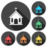 Church icons set with long shadow stock illustration