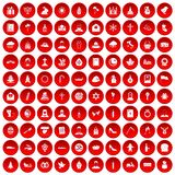 100 church icons set red. 100 church icons set in red circle isolated on white vector illustration Vector Illustration