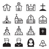 Church icons set Stock Photos