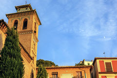 Church Iglesia of Santa Anna Moon Rio Darro Granada Andalusia Sp Royalty Free Stock Photo