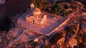 Church Ilya in Protaras Cyprus aerial 4k stock footage