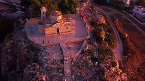 Church Ilya in Protaras Cyprus aerial 4k stock video footage