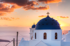 Church of Imerovigli at sunset Stock Photography