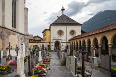 Church in Imst with cemetery Stock Images