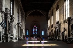 Church In Siena, Light Falling Through Windows On Floor Of Basilica San Domeniko Siena, Tuscany, Italy, Light And Shade In Church Stock Photo