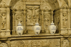 Church indoor. Ornaments inside a typical Andalusian church Royalty Free Stock Photos